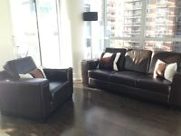 Genuine Brown Leather Couch and Chair Set For Sale