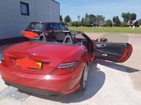 Mercedes Benz SLK in Red with Glass Roof