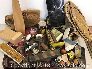 Group Of Tins, Old Ball Gloves, Door Knobs