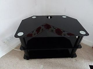BLACK GLASS TV STAND WITH SHELF - EXCELLENT CONDITION