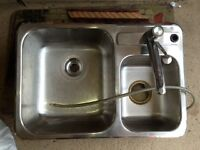 Double Stainless steel sink including Moem faucet