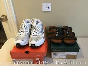 New Nike Air Ladies Running Shoes Size 9 & Clarks Sandals Size 9