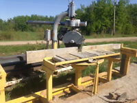 Large Radial armsaw with infeed/outfeed rollers