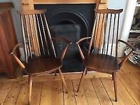 Two original vintage Ercol arm chairs