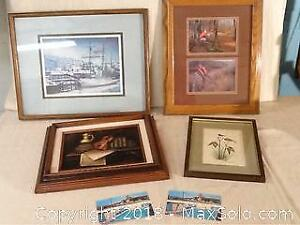 Lot Of Pictures, Original Art, And Old Postcards