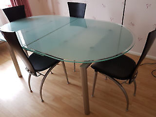 Calligaris Extendable Glass Dining Table 6 Chairs Only 4 Chairs