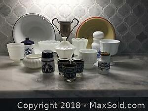 Milk Glass, Enamel Bowls, Vintage Trophy Etc