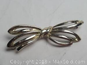 Silver Toned Bow Brooch 2 inches