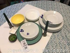 Assorted Dinnerware And Pewter Candlesticks
