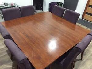 Square Solid 8 Seater Wood Dining Table and Chairs Royalla Queanbeyan Area Preview