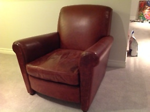 Leather club chair in distressed red