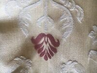 1 x pair of cream with burgundy embossed design, pinch pleat curtains fully lined.