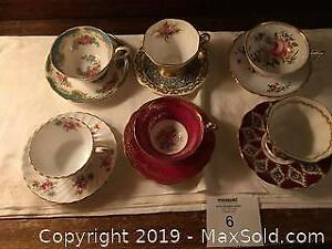 6 China Tea Cups and Saucers