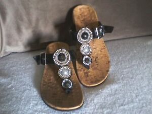 """Vionic""""Adelie"""" beaded sandals in black or teal, size 7"""