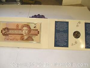 1996 Canada's New Uncirculated $2 Dollar Coin And Bank Note Set.