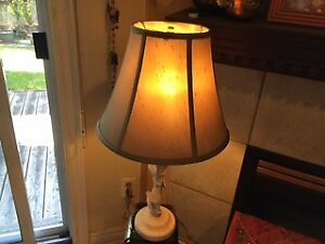 NEW PRICE PAIR of Wrought iron painted unusual lamps new shades