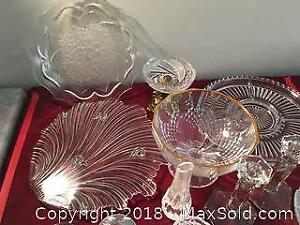 Cut Crystal And Pressed Glass Lot