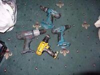 Job lots 4 cordless drills no tested for spares or repairs: 2 MAKITA 8391D 18v and 14.4v 6381D