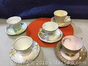 5 Uk Tea Cups and Saucers Royal Stafford Etc