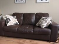 Leather 3 & 2 seater sofas.