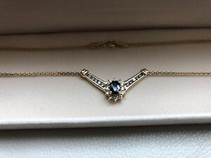 Gold, Blue Sapphire and Diamond Necklace, Princess Di Style