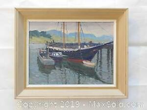 Oil on Board, Painting by Gordon Payne (attributed) unsigned. Fishing Boats.