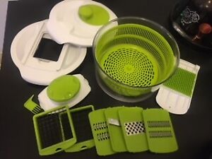 Multi-Use Salad Spinner with Slicer, Dicer and Chopper!
