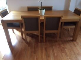 Belgian Solid Oak Dining Table, Chairs
