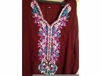 kamees dress kaftan long maxi evening indian pakistani asian new 8 10 floral brown