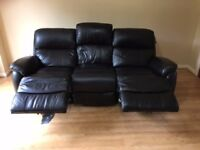 DFS Custom made Narvona Black Leather Sofa with 2 BUILT IN power recliners