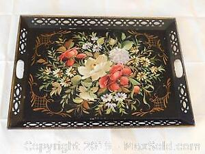 c1910 Large Hand Painted Tole Metal Tray