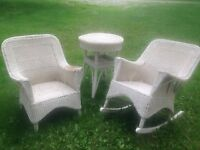 Antique Wicker Chair set with side table