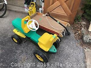 Wagon And Plastic Toy Tractor C