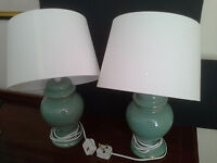 Two living room/bedside table lamps.