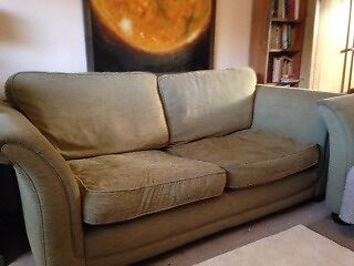 Two Sage Green Chenille Sofas Sofa Settee Settees Couches Couch In