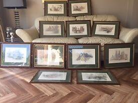 Set of 13 wooden framed prints