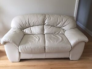 Leather cream coloured Love seat, Chair and Ottoman for sale