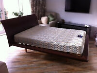 King size brown leather headboard and bedframe from Barker and Stonehouse with Silentnight mattress