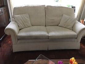 """2 x 3 seater cream sofas made at Quality Suites Watford 74""""wide 38"""" depth buy to collect"""