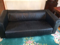 Black leather 3 seater settee