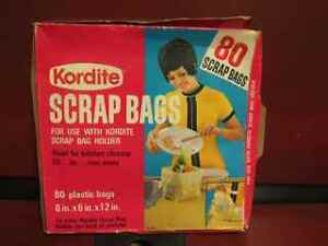 Vintage Kordite Scrap Bags made by Mobil Chemical Co.