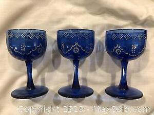 Antique Cobalt Blue Cordial Glasses A
