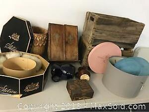 Group Of Old Stuff, Boxes, Jugs