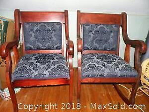 Antique re-upholstered matching rocking chair and chair