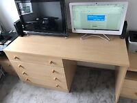 Desk or Dressing table with 4 large drawers 145cm L x 59 cm W x 72cm H