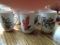 Set of 7Mugs decorated with Native Designs by Potlatch Arts Ltd