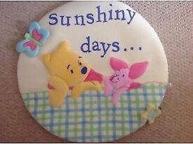 Winnie the Pooh Nursery Bedding, Curtains, Light fitting & Wall Art