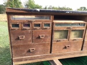 Antique Oak Mercantile Store Display, Counter