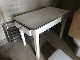 White wood Utility table with drawer