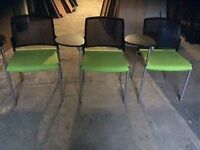 3x Green chairs